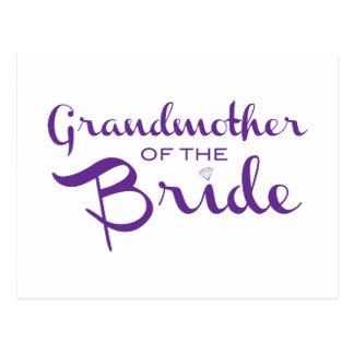 Carte Postale Grand-mère de pourpre de jeune mariée sur le blanc