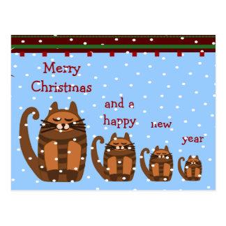 Carte Postale grande grosse neige de Noël de rufus de chat