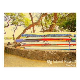 Carte Postale Grande île Hawaï de canoës
