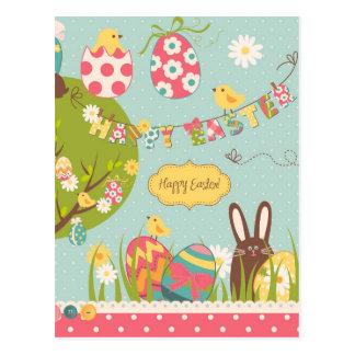 Carte Postale Grande Pâques réglée avec le lapin mignon de