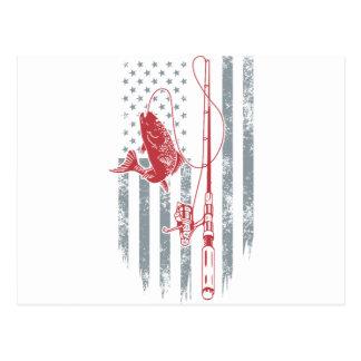 Carte Postale Grandes chemises de pêche de drapeau américain
