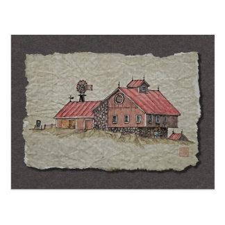 Carte Postale Grange et moulin à vent de banque