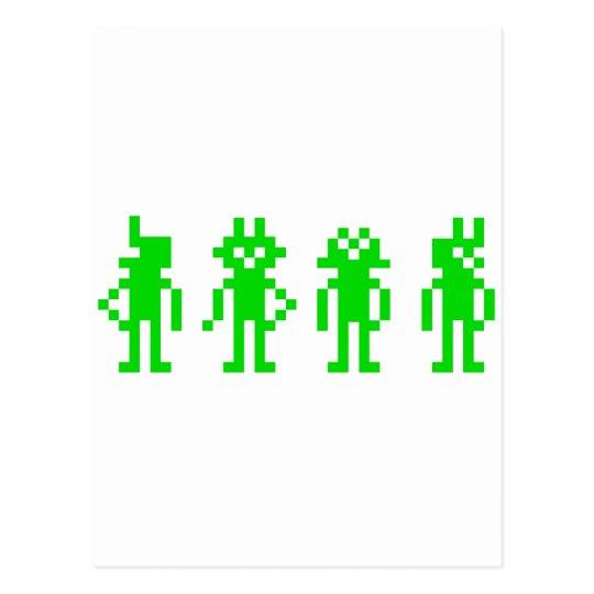 Carte Postale green pixel robots