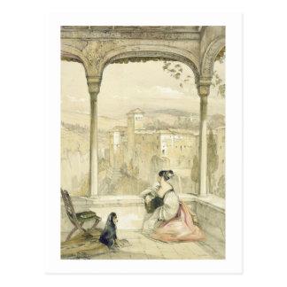 Carte Postale Grenade (Alhambra), plaquent 9 des 'croquis de