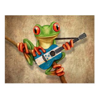 Carte Postale Grenouille d'arbre jouant la guitare de drapeau du