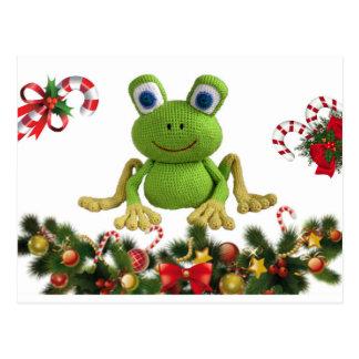 Carte Postale Grenouille de crochet pour Noël avec ses