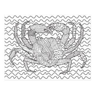 Carte Postale Griffonnage détaillé de crabe de mer