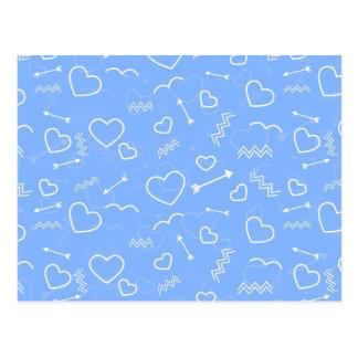 Carte Postale Griffonnages bleu-clair de coeur et de flèche