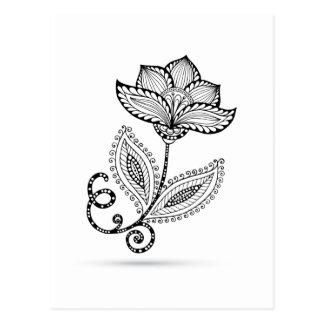 Carte Postale Griffonnages de Paisley Mehndi de henné