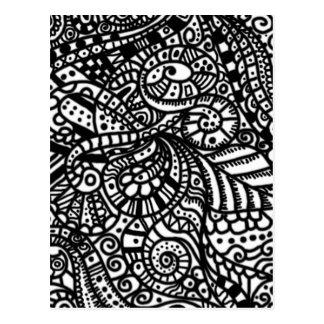 Carte Postale Griffonnages peints à la main noirs et blancs