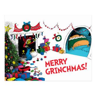 Carte Postale Grinch classique | le Grinch dans la cheminée