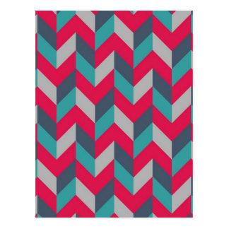 Carte Postale Gris bleu rouge de rayures géométriques en arête