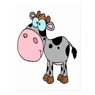 Carte Postale gris idiot mignon de veau de vache à bébé de bande