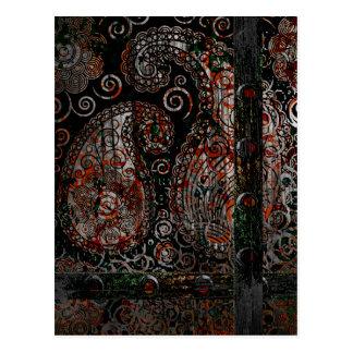 Carte Postale Gris rouge grunge métallique de rouille de Paisley