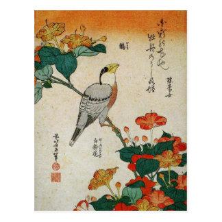 Carte Postale Gros-bec et Mirabilis japonais Jalapa (Hokusai)