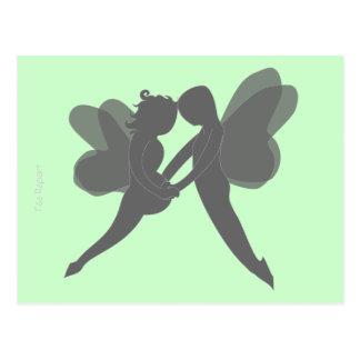 carte postale grossesse couple de fées fond vert