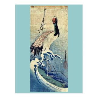 Carte Postale Grue dans les vagues par Ando, Hiroshige Uiyoe.