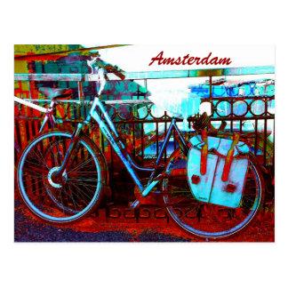 Carte Postale grunge colorée de bicyclette d'Amsterdam
