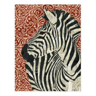 Carte postale grunge de damassé de zèbre