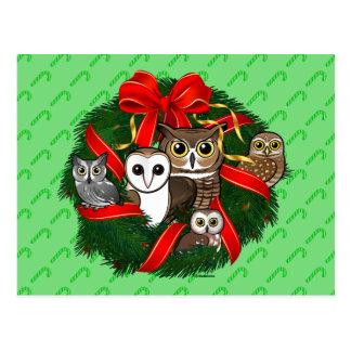 Carte Postale Guirlande de Noël de hiboux de Birdorable
