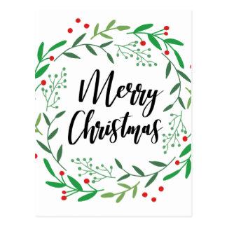 Carte Postale Guirlande de Noël, Joyeux Noël, bonnes fêtes