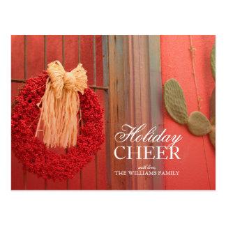 Carte Postale Guirlande rouge de Ristra de piment avec l'arc