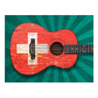 Carte Postale Guitare acoustique âgée et utilisée de drapeau