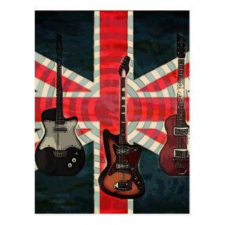 Carte Postale Guitare électrique d'Union Jack de drapeau de