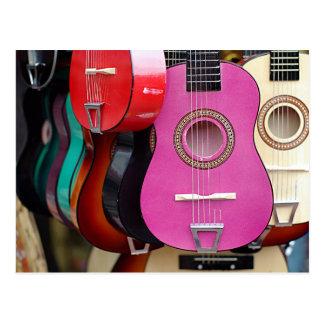 Carte Postale Guitare rose
