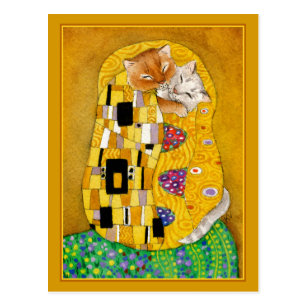 Carte Postale Gustav Klimt embrasser l'or mignon chat spocard
