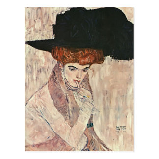 Carte Postale Gustav Klimt- le casquette noir de plume