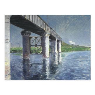 Carte Postale Gustave Caillebotte - la Seine et le chemin de fer