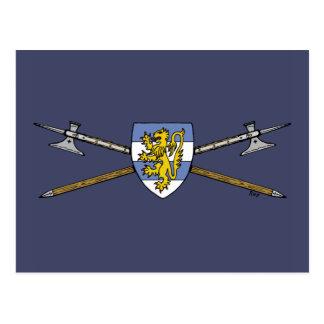 Carte Postale Haches d'armes et bouclier
