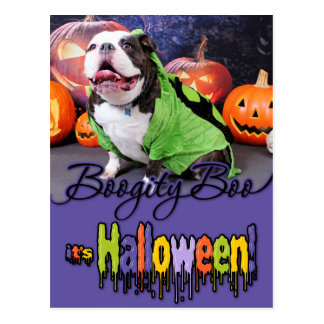 Carte Postale Halloween - bouledogue anglais - transitoire