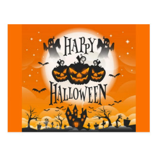 Carte Postale Halloween hanté heureux