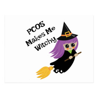 Carte Postale Halloween PCOS me fait Witchy
