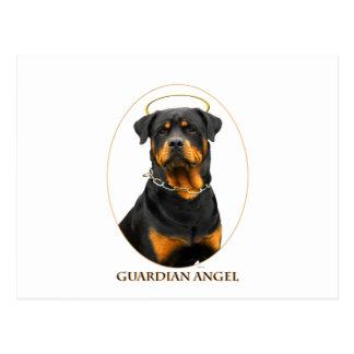 Carte Postale halo de rottweiler d'ange gardien