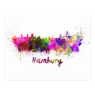 Carte Postale Hambourg skyline in watercolor