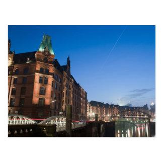 Carte Postale Hambourg Speicherstadt la nuit
