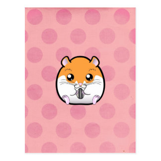 Carte Postale Hamster blanc orange syrien régulier