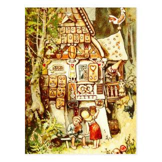 Carte Postale Hansel et Gretel au cottage de pain d'épice