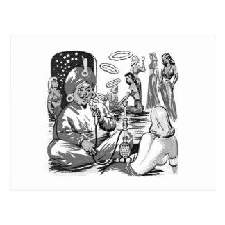 Carte Postale Harem vintage de Bagdad de narguilé de tabac de