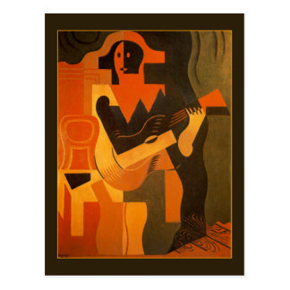 Carte Postale Harlequin avec la guitare par Juan Gris