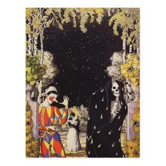Carte Postale Harlequin et mort de Konstantin Somov-