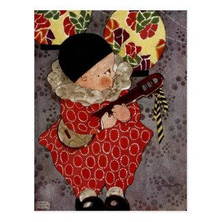 Carte Postale Harlequin vintage d'enfant, musicien jouant le