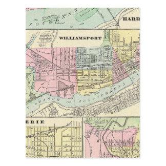 Carte Postale Harrisburg, Williamsport, Erie, Scranton