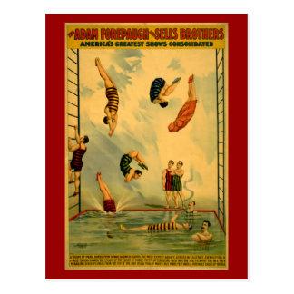 Carte Postale Haute affiche de cirque de piqué/plongée