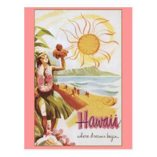 Carte Postale Hawaï - où les rêves commencent