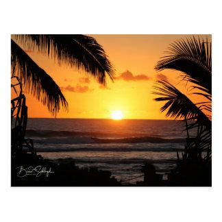 Carte postale hawaïenne de coucher du soleil de