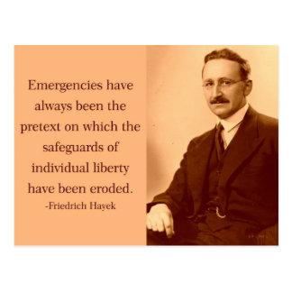 Carte Postale Hayek sur des urgences
